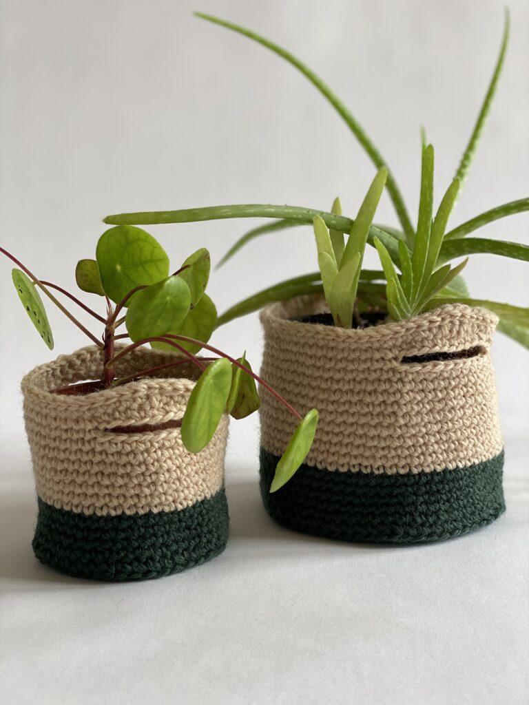 Hæklede urtepotter